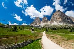 Sassolungo and Sassopiatto mountains, Italy stock photos