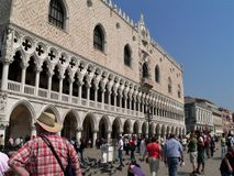 Photo with the historic building, Palazzo Ducale in the Italian city of Venice in St. Mark`s square. The great monument of Italian Gothic architecture, one of Royalty Free Stock Images