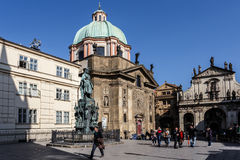 Photo of the historical statue of Karel Charles IV Stock Images