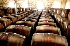Photo of historical wine barrels in a row. Photo of historical wine barrels in winery cellar storage area featuring rows of oak barrels after vintage and harvest Stock Image
