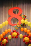 Photo holiday decorations of the stage, curtain or wall with the number 8 (eight). A child's birthday or wedding anniversary or commercial companies Royalty Free Stock Photography