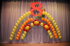 Photo holiday decorations of the stage, curtain or wall with the number 8 (eight) Royalty Free Stock Image