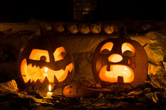 The photo for a holiday Halloween, evil pumpkin sneers at the cr Stock Images