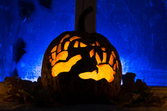 Photo for a holiday Halloween, pumpkin with hands Royalty Free Stock Photo