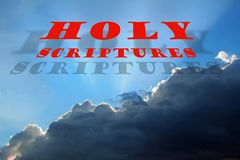 Bible holy scriptures text storm clouds sky heaven background stock photos