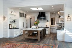 Home interior design, large farm house kitchen, white cabinets