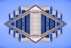 Photo of a home reflected four times vertically vector illustration