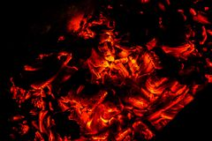 Photo of the hot coal in the barbecue. In the evening royalty free stock photography