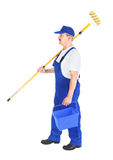 House painter on the way to work Stock Photo