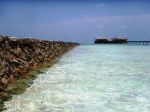 Maldivian pier. Photo from Hudharan Fushi island, Maldives stock image