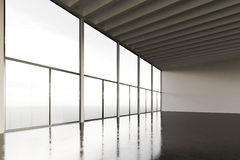 Photo of huge expo hangar in modern building. Expo interior loft style with concrete floor,panoramic windows.Abstract Stock Images