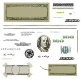 Photo hundred dollar bill elements isolated. On white background  and texture, high definition, (Set Royalty Free Stock Photography
