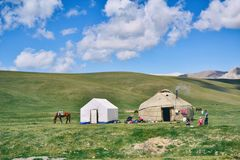 Photo of Hut And Tent On Grass Field stock images