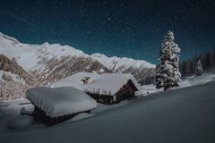 Photo of Ice Coated House Roofs Beside Green Pine Tree during Snow Night Time Stock Photos