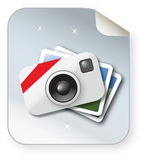 Photo icon. Illustrated glossy photo icon with background Royalty Free Stock Photos