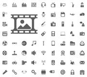 Photo icon. Media, Music and Communication vector illustration icon set. Set of universal icons. Set of 64 icons.  Royalty Free Stock Photos