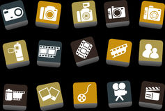 Photo icon set. Vector icons pack - Yellow-Brown-Blue Series, photo collection Stock Images