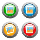 Photo icon on set of glass buttons Stock Photography