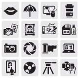Photo icons. Vector black photo icons set Royalty Free Stock Images
