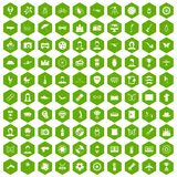 100 photo icons hexagon green. 100 photo icons set in green hexagon isolated vector illustration Royalty Free Stock Image