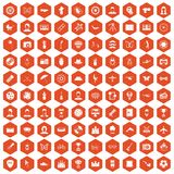 100 photo icons hexagon orange. 100 photo icons set in orange hexagon isolated vector illustration stock illustration
