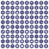 100 photo icons hexagon purple. 100 photo icons set in purple hexagon isolated vector illustration Stock Photo