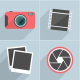 Photo icons with long shadow. Vector illustration. Royalty Free Stock Photo