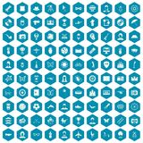 100 photo icons sapphirine violet. 100 photo icons set in sapphirine hexagon isolated vector illustration stock illustration