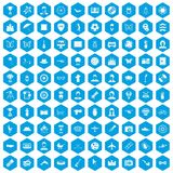 100 photo icons set blue. 100 photo icons set in blue hexagon isolated vector illustration royalty free illustration