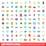 100 photo icons set, cartoon style Stock Image