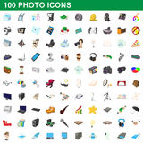 100 photo icons set, cartoon style Royalty Free Stock Photography