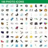 100 photo icons set, cartoon style. 100 photo icons set in cartoon style for any design illustration stock illustration