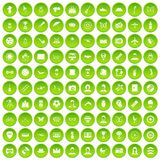 100 photo icons set green. 100 photo icons set in green circle isolated on white vectr illustration royalty free illustration