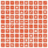 100 photo icons set grunge orange. 100 photo icons set in grunge style orange color isolated on white background vector illustration stock illustration