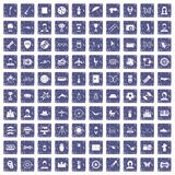 100 photo icons set grunge sapphire. 100 photo icons set in grunge style sapphire color isolated on white background vector illustration royalty free illustration