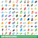 100 photo icons set, isometric 3d style. 100 photo icons set in isometric 3d style for any design vector illustration Royalty Free Stock Images