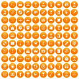 100 photo icons set orange. 100 photo icons set in orange circle isolated on white vector illustration stock illustration
