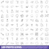 100 photo icons set, outline style Royalty Free Stock Photography