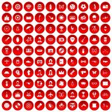 100 photo icons set red. 100 photo icons set in red circle isolated on white vector illustration Vector Illustration