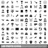 100 photo icons set, simple style Stock Photography
