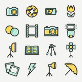 Photo icons set. Vector colored outline symbols. Stock Images