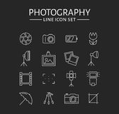 Photo icons set. Vector outline symbols. Photo icons. Set of 16 symbols for a photographic theme. Vector collection of outline elements isolated on black Royalty Free Stock Photos
