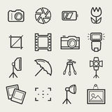 Photo icons set. Vector outline symbols. Photo icons. Set of 16 symbols for a photographic theme. Vector collection of outline elements  on white background Stock Photos