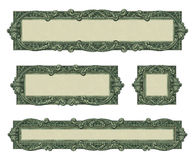 Money Borders. Photo-illustration of 4 borders/frames using elements from a dollar bill Stock Photos