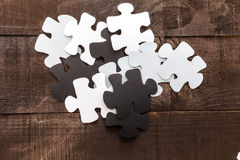 Photo illustration business goals. Photo illustration showing the business concept of engineering applied to industries or internet with puzzle pieces Stock Photography
