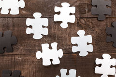 Photo illustration business goals. Photo illustration showing the business concept of engineering applied to industries or internet with puzzle pieces Royalty Free Stock Photos