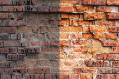 Photo before and after the image editing process. Brick wall Stock Image