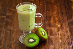 Photo before and after the image editing process. Kiwi smoothie Stock Photo