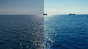 Photo before and after the image editing process. Sea ships Royalty Free Stock Images
