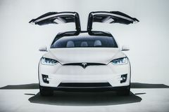 Berlin, October 2, 2017: Photo of the image of an electric vehicle Tesla model X at the Tesla motor show in Berlin. A